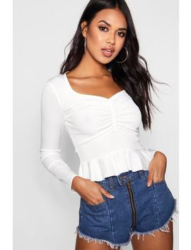 Rib Sweetheart Neck Ruffle Crop by Boohoo