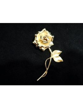 Vintage Brooch Pin Brushed Gold Tone 3 D Rose by Unbranded