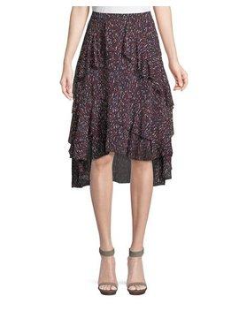 Brigida Tiered Silk High Low Skirt by Joie