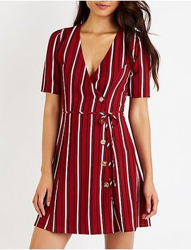 Stripe Button Up Skater Dress by Charlotte Russe