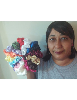 Bag Of 22 Satin Scrunchies    22 Assorted Colors   3 Sizes by Etsy