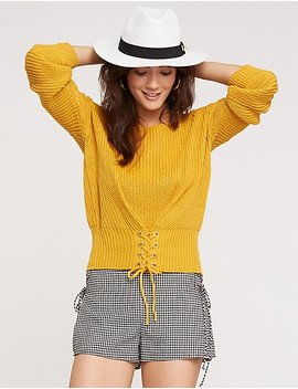 Corset Cropped Sweater by Charlotte Russe