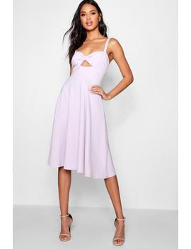 Boutique Tie Detail Midi Skater Dress by Boohoo
