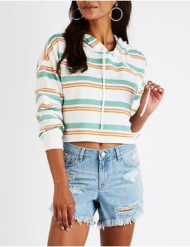 Striped Cropped Drawstring Hoodie by Charlotte Russe