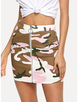 Zip Front Camouflage Print Bodycon Skirt by Shein