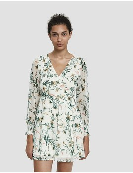 Estelle Floral Mini Dress In White by Farrow