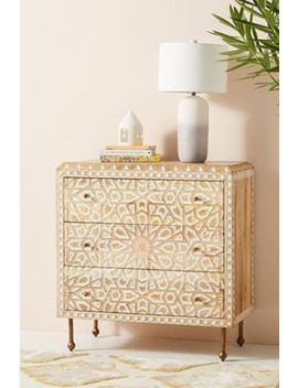 Handcarved Albaron Three Drawer Dresser by Anthropologie