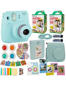Fujifilm Instax Mini 9 Instant Camera Ice Blue + 2x Fuji Instax Film Twin Pack (40 Pk) + Blue Camera Case + Frames + Photo Album + 4 Color Filters And More Top Accessories Bundle by Abesons