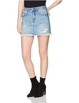 Lily Parker Women's Distressed Rivet Beading Denim Short Mini Skirt by Lily+Parker