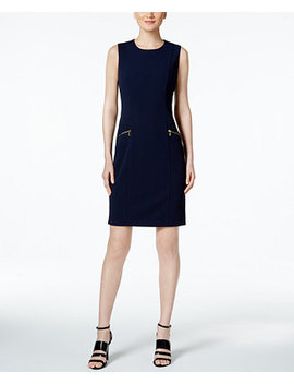 Zip Pocket Scuba Sheath Dress by Calvin Klein