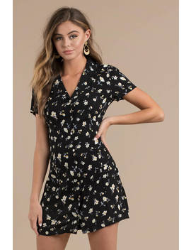 Farrah Black Floral Shift Dress by Tobi