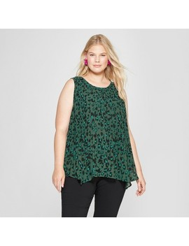Women's Plus Size Animal Print Pleated Tank   Ava & Viv™ Green by Shop All Ava & Viv™