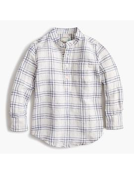Kids' Band Collar Shirt In Windowpane Linen Cotton by J.Crew