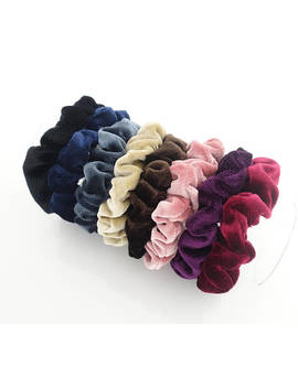A Set Of 8 Solid Color Thin Velvet Scrunchies Hair Elastic Fall Winter Women Hair Accessories by Very Shine