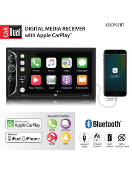 Dual Electronics Xdcp97 Bt 6.2 Inch Led Backlit Lcd Digital Multimedia Touch Screen Double Din Car Stereo With Built In Apple Car Play, Bluetooth & Usb Port by Dual