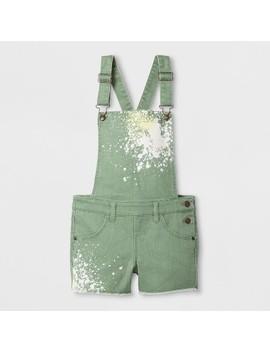 Girls' Shortall Paint Splatter Olive   Cat & Jack™ Pioneer Sage by Shop All Cat & Jack™