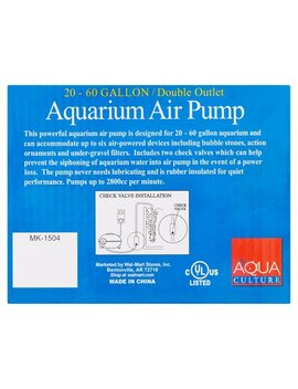 Aqua Culture Double Outlet Aquarium Air Pump, 20 60 Gallon Capacity by Aqua Culture