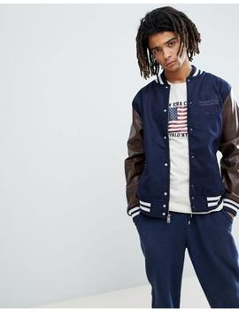 New Era World Varsity Bomber Jacket In Navy by New Era
