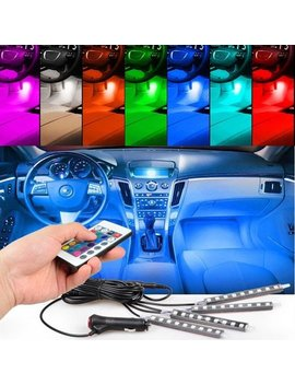 Tsv  4pcs 36 Led Multi Color Car Interior Lights Under Dash Lighting Waterproof Kit With Multi Mode Change And Wireless Remote Control, Car Charger Included,Dc 12 V by Tsv