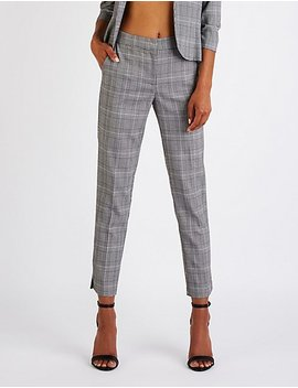 Plaid Slim Leg Trousers by Charlotte Russe