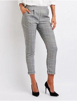 Plaid Cuffed Trousers by Charlotte Russe