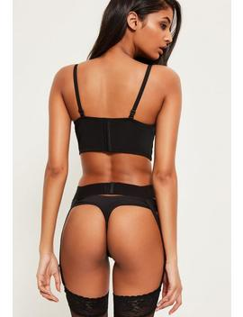 Black Wide Elasticated Suspender Belt by Missguided