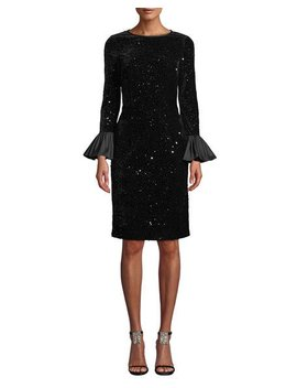 Velvet Confetti Sequin Bell Sleeve Dress by Rickie Freeman For Teri Jon