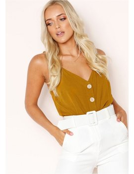Aneka Mustard Button Cami Top by Missy Empire