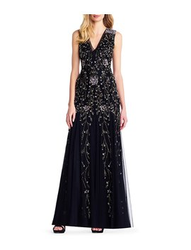 V Neck Floral Beaded Godet Gown by Generic