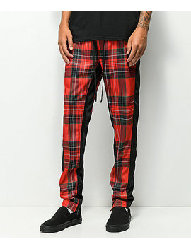 Ninth Hall Nordberg Red Plaid Track Pants by Ninth Hall