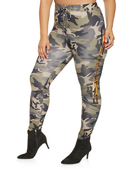 Plus Size Camo Foil Graphic Leggings Plus Size Camo Foil Graphic Top by Rainbow