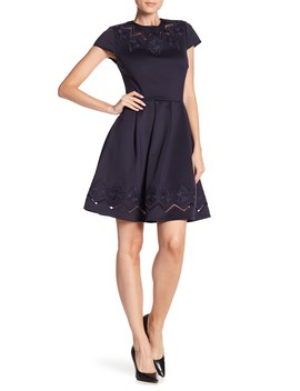 Cheskka Lace & Mesh Skater Dress by Ted Baker London