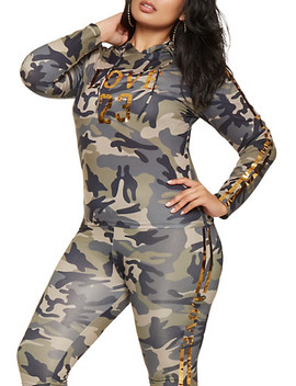 Plus Size Camo Foil Graphic Top Plus Size Camo Foil Graphic Leggings by Rainbow