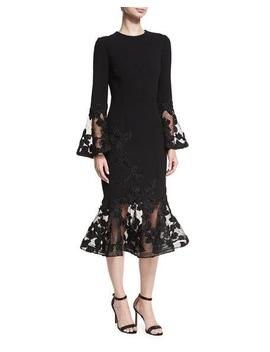 Long Sleeve Crepe Flounce Lace Cocktail Dress by Rickie Freeman For Teri Jon