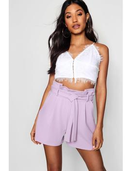 High Waisted Tie Belt Shorts by Boohoo
