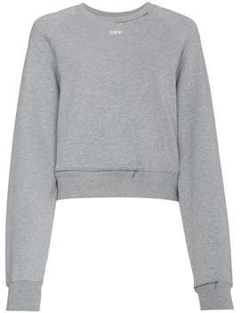 Off Whitecropped Cutout Sweatshirt Home Women Off White Clothing Sweaters by Off White