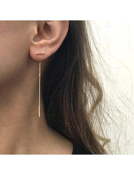 Ear Threader Earrings, Gold Ear Threader, Sterling Silver Threader Earrings, Chain Earrings, Long Chain Ear Threader by Greatsilverjewelry