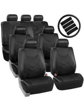 Fh Group Synthetic Leather Auto Seat Cover, 7 Seater Suv Van Full Set With Steering And Belt Pads, Black by Fh Group