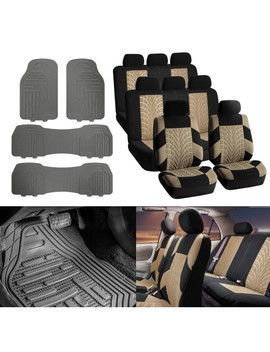 7 Seaters Suv Van 3 Row Car Seat Covers Beige Black With Gray Floor Mats by Fh Group