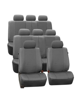Fh Group Gray Deluxe Faux Leather Airbag Compatible And Split Bench Car Seat Covers, 8 Seater 3 Row Full Set by Fh Group