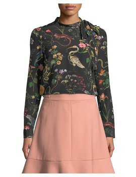 Flora And Fauna Print Long Sleeve Blouse by Red Valentino
