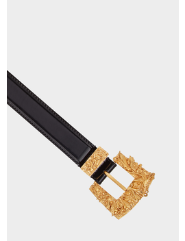 Square Barocco Buckle Leather Belt by Versace