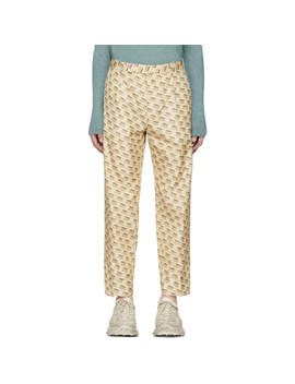 Tan All Over Logo Formal Trousers by Gucci
