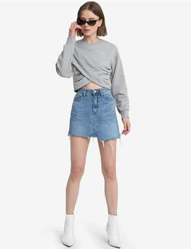 Juna Grey Wrap Crop Sweatshirt by Pixie Market