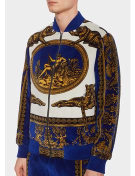 Signature Dea Print Zip Sweatshirt by Versace