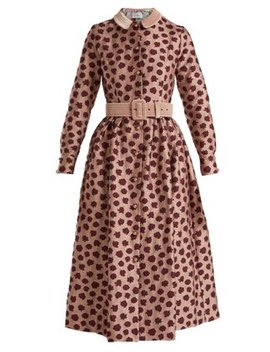 Belted Long Sleeved Floral Jacquard Midi Dress by Luisa Beccaria