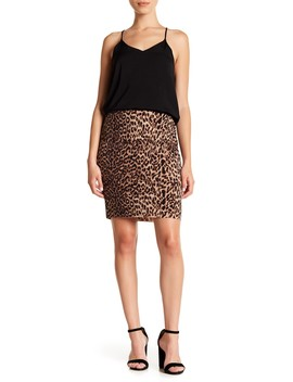 Leopard Print Skirt (Petite) by Vince Camuto