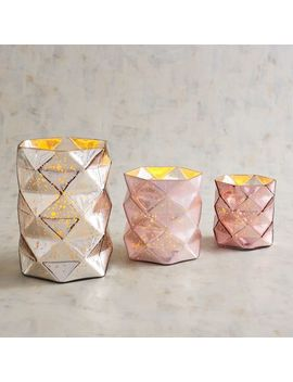 Luxe Geo Mercury Glass Hurricane Candle Holders by Pier1 Imports