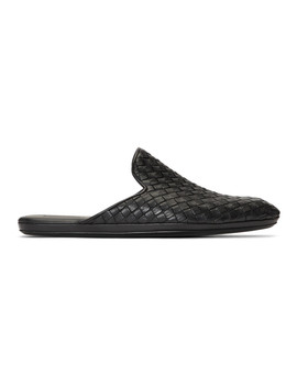 Black Leather Intrecciato Loafers by Bottega Veneta