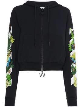 Off Whitefloral Embroidered Hoodie by Off White